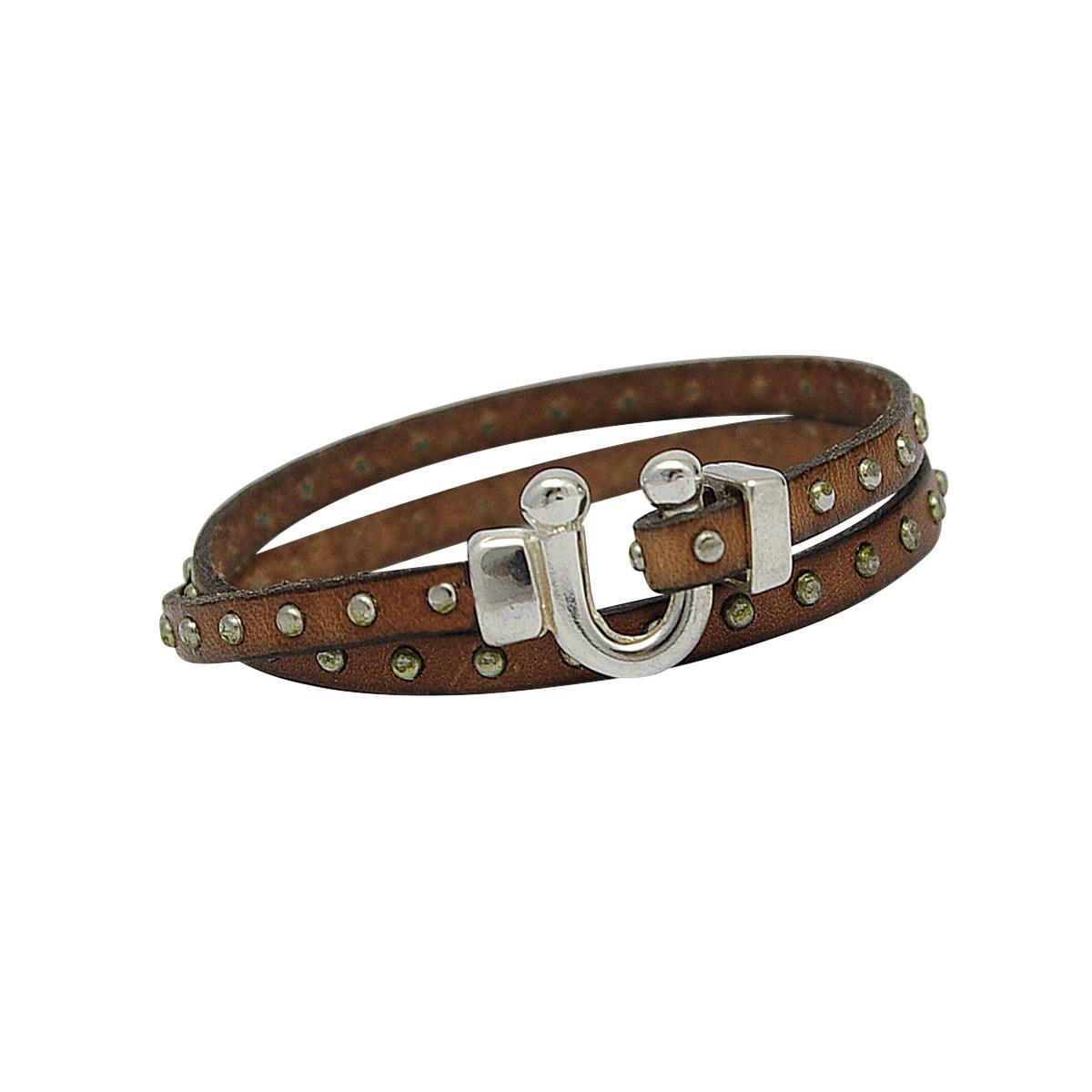 bracelet cuir femme double