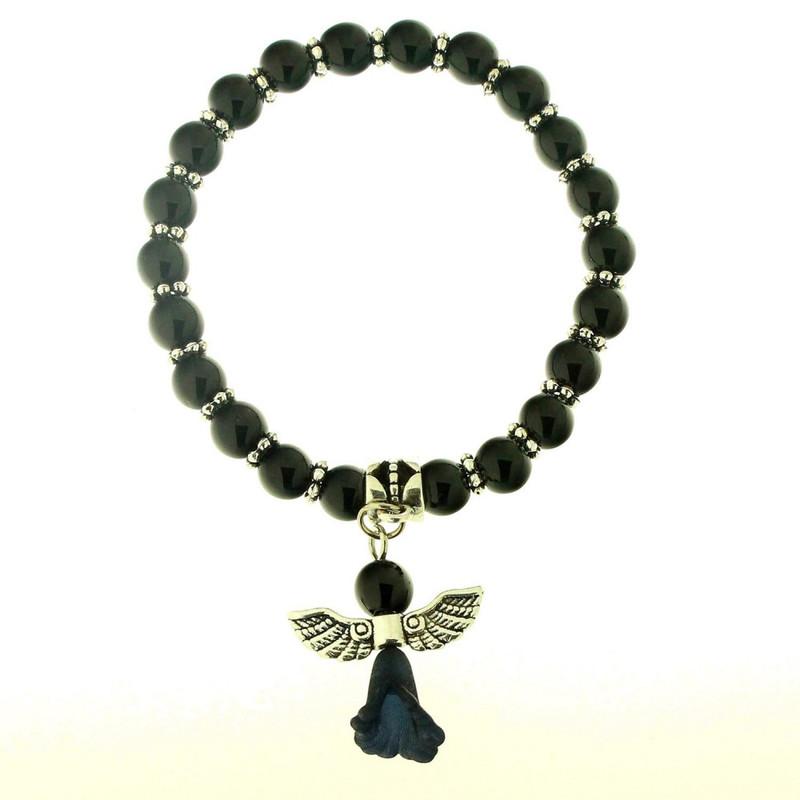 9bb51464f Magnifique bracelet élastique breloques ange en perles d'onyx noire