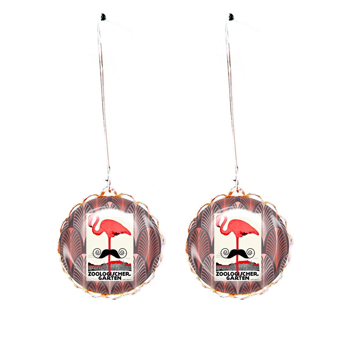 Boucles cabochons flamand rose moustache art déco - vue V1
