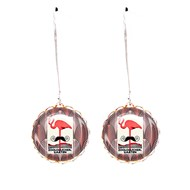 Boucles cabochons flamand rose moustache art déco