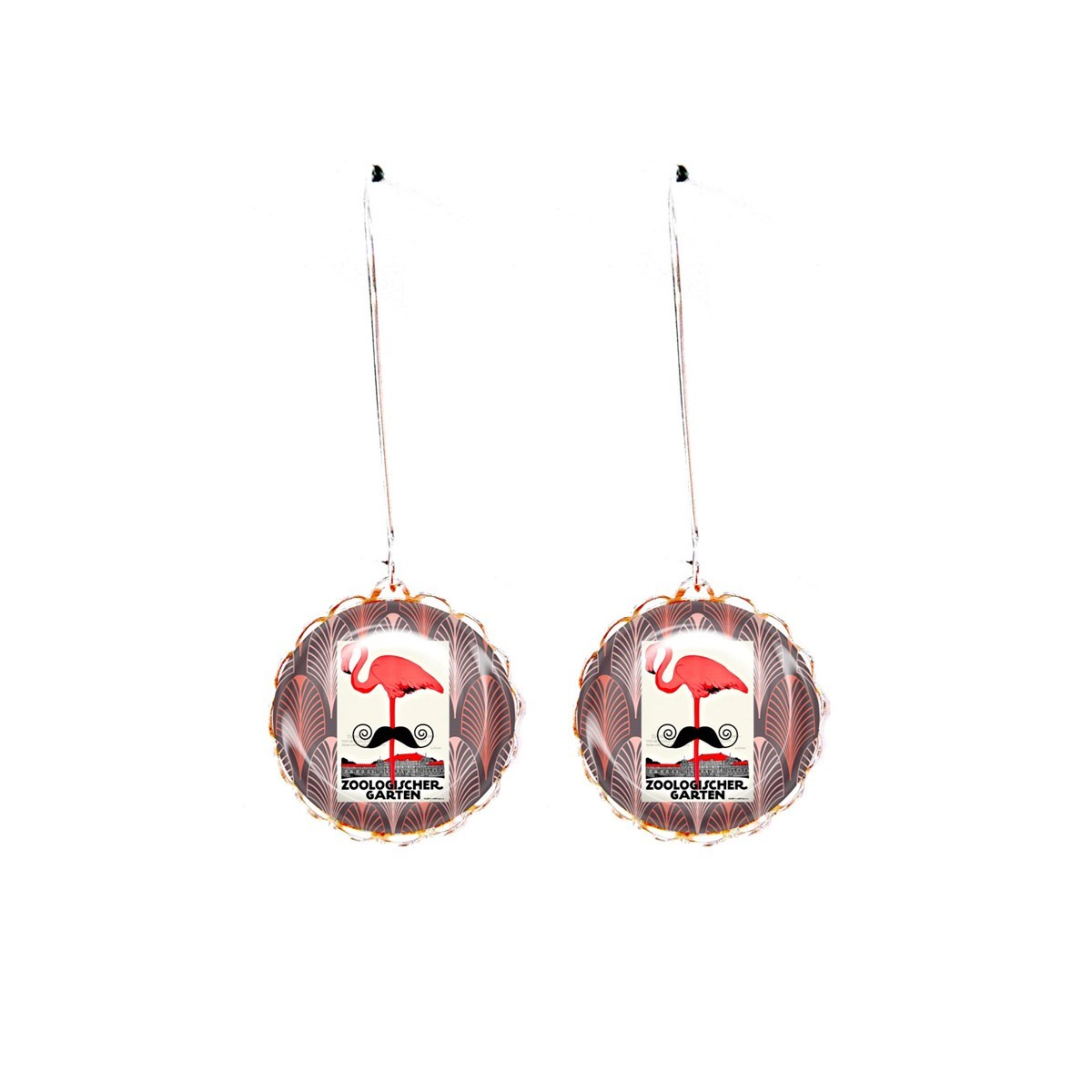 Boucles cabochons flamand rose moustache art déco - vue V2