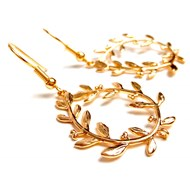 Boucles gold filled 14K couronne feuilles d'olivier