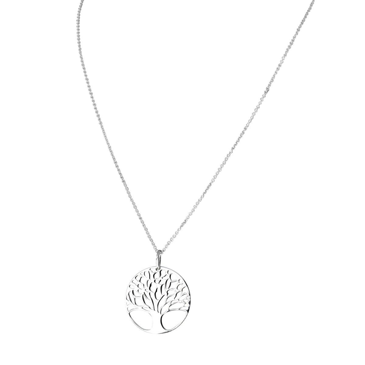 collier à pendentif Arbre de Vie en plaqué 925 argenté
