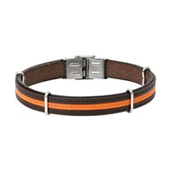 Braceelr homme Elden acier cuir surpiqure marron/orange
