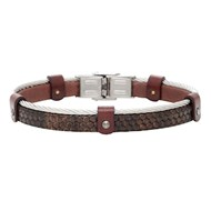 Bracelet Elden acier cuir nid d'abeilles marron collection Mick on Stage