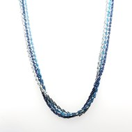 Sautoir Elden 3 rangs bleu azur/jean/turquoise collection Catch the Rainbow