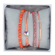 Bracelets Les Interchangeables Strass Box Fabric 4 Corail / Or Rose