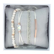 Bracelets Les Interchangeables Strass Box Fabric 4 Crème / Or rose