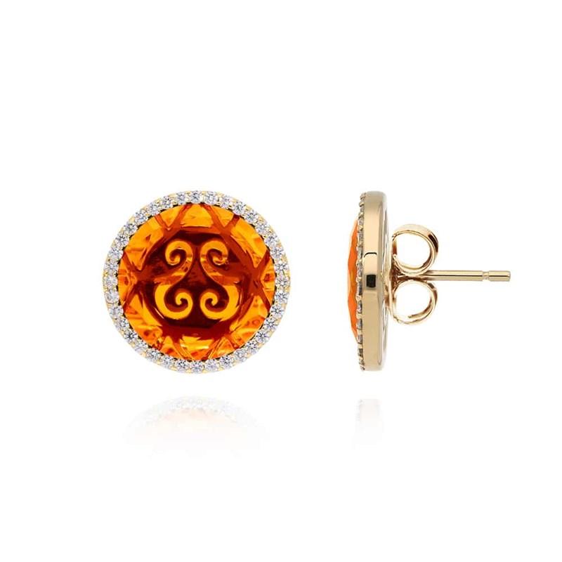 profiter de gros rabais qualité fiable remise chaude Boucles d'oreilles disque or pierre orange