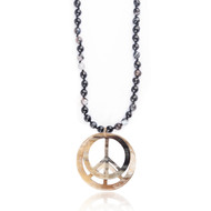 Collier sautoir 'Peace and Love' en corne et pierres naturelles - Amarkande