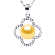 Collier Perle de Culture d'Eau Douce 9-10 mm | Entourage Motif Trèfle