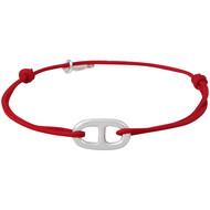 Bracelet cordon, motif en argent 12AT3645 Rouge