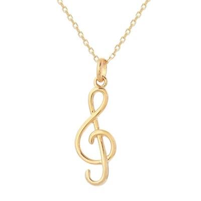 Collier avec pendentif note de musique