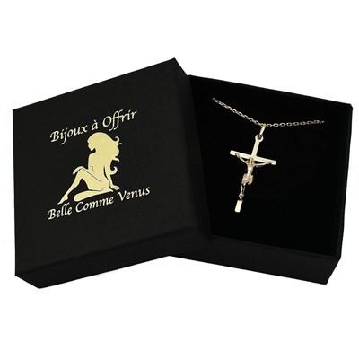 Collier Femme Croix Catholique Jesus Christ Plaque Or 750 3 Microns Femme Collier Maty
