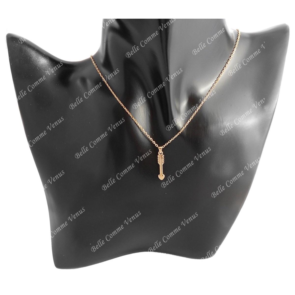 3 Plaqué Collier 750 Coeur Or Flèche Femme Microns HDE29I
