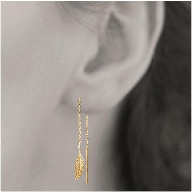 Boucles d'oreilles traversantes chaînes avec plume tombante Plaqué or 750 3  microns