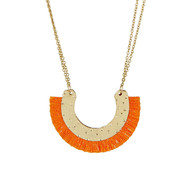 Collier Ethnique Doré ''ISSAS'' Orange