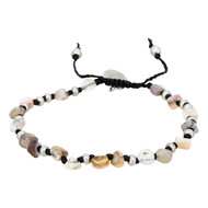 Bracelet Homme ajustable pierres multicolore gris 'TIGER EYE'