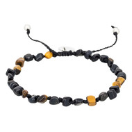 Bracelet Homme ajustable pierres multicolore noir 'TIGER WAX'