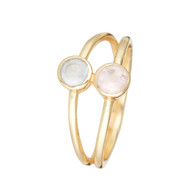 Bague ''Adela'' Light Calci et Rose Quartz