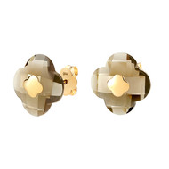 Copie de PUCES D'OREILLES OR JAUNE QUARTZ FUME