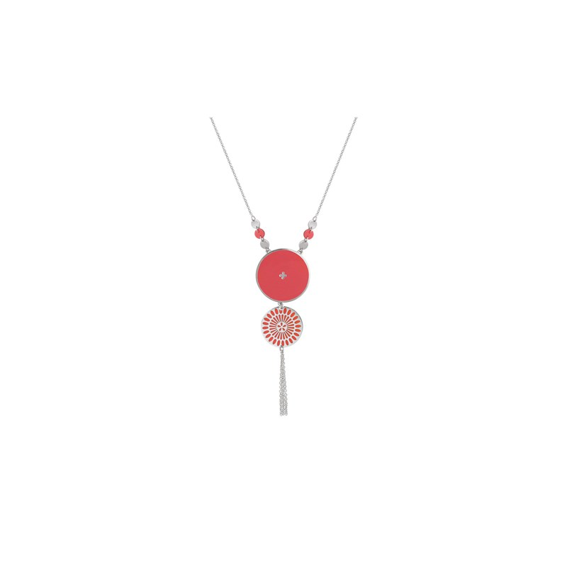 Collier  ALICE argent/corail