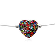 Collier Nylon Invisible C?ur en Cristal Multicolor et Argent 925