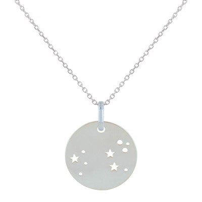 Collier Argent Zodiaque Constellation Lion - vue V1