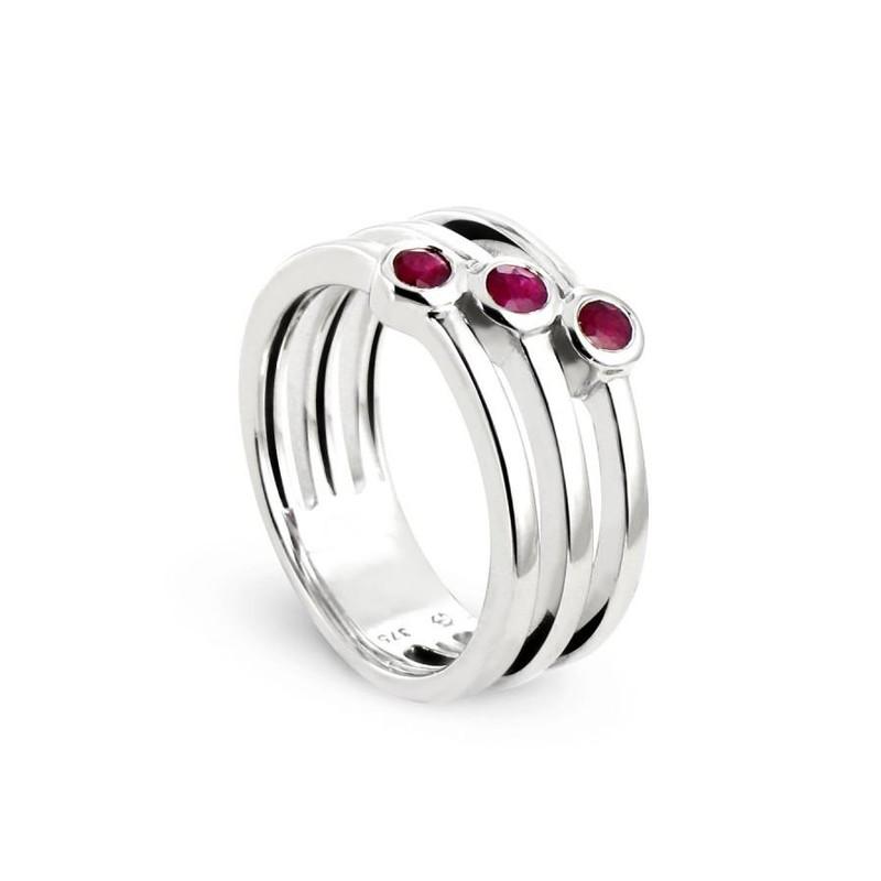 les ventes chaudes large éventail très convoité gamme de Bague 3 anneaux en Or blanc 375/00 avec rubis