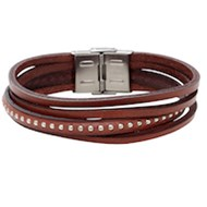 Bracelet homme Elden acier cuir multi-rangs marron collection Malcom on Stage