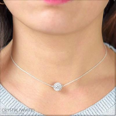 Collier ras du cou en plaqué or blanc orné de cristaux Swarovski avec boule  crystal blanc