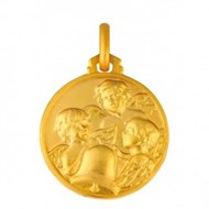 Medaille trois petits Anges or 417 jaune