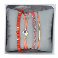 Bracelets Les Interchangeables Coffret Strass Box Fabric corail