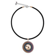 Collier Coeur de Lion pastille empierrée multicolore