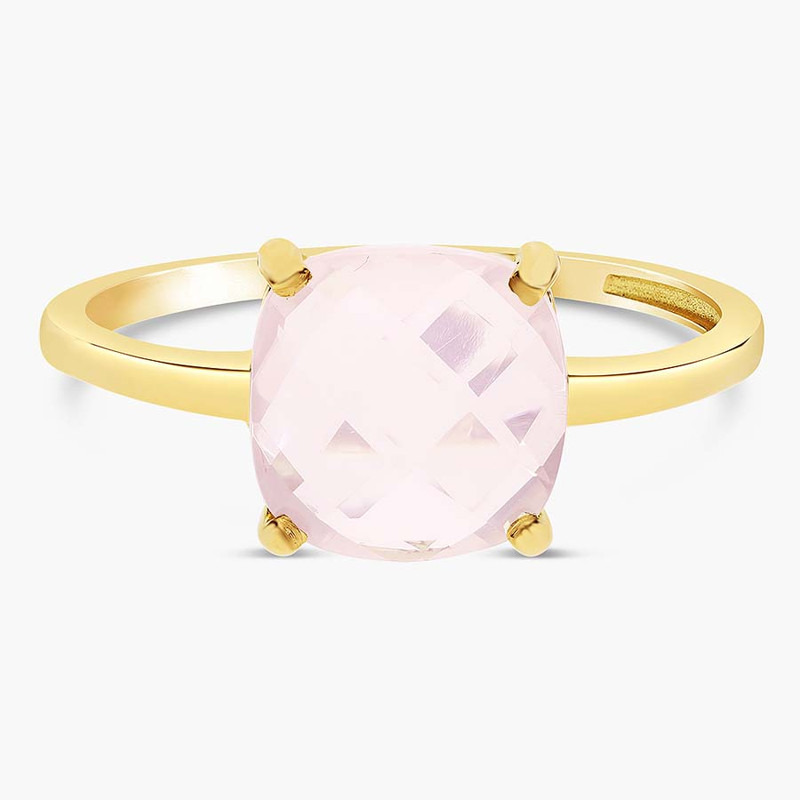 bague or jaune et quartz rose