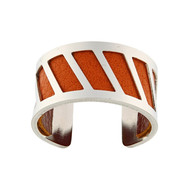 Bague Achernar 12mm cuir reversible orange/marron ajustable