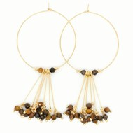 Boucles d'oreilles Zag marron-gold brown - oeil de tigre