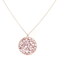 Collier argent scintillant rose champagne