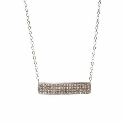 Collier argent pave rectangle rhodie serti - vue V1