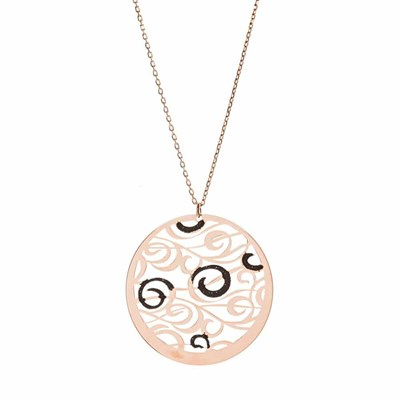 Collier argent tourbillons scintillants rose - vue V1