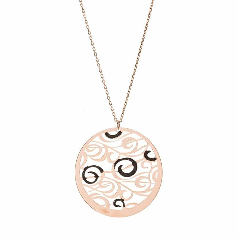 Collier argent tourbillons scintillants rose - vue 1