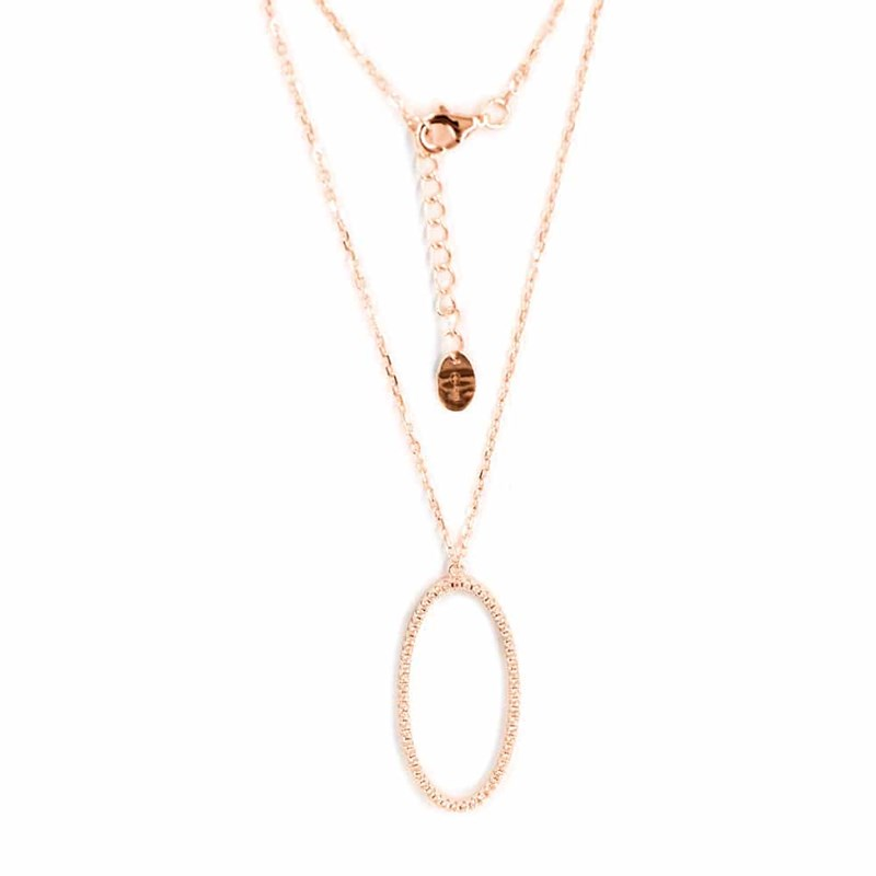 Collier argent forme ovale serti rose - vue 1