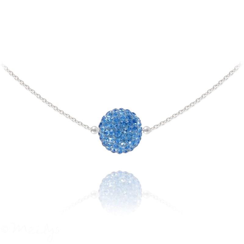 Collier ras du cou en argent 925 rhodié orné de cristaux Swarovski avec  boule crystal bleu