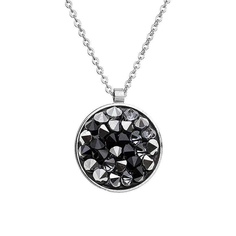 Collier orné de cristaux Swarovski avec pierre crystal Noir en plaqué Or  blanc et rhodié