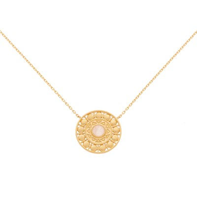 Collier COLLECTION CONSTANCE CASSANDRE Quartz Rose plaqué or - vue V1