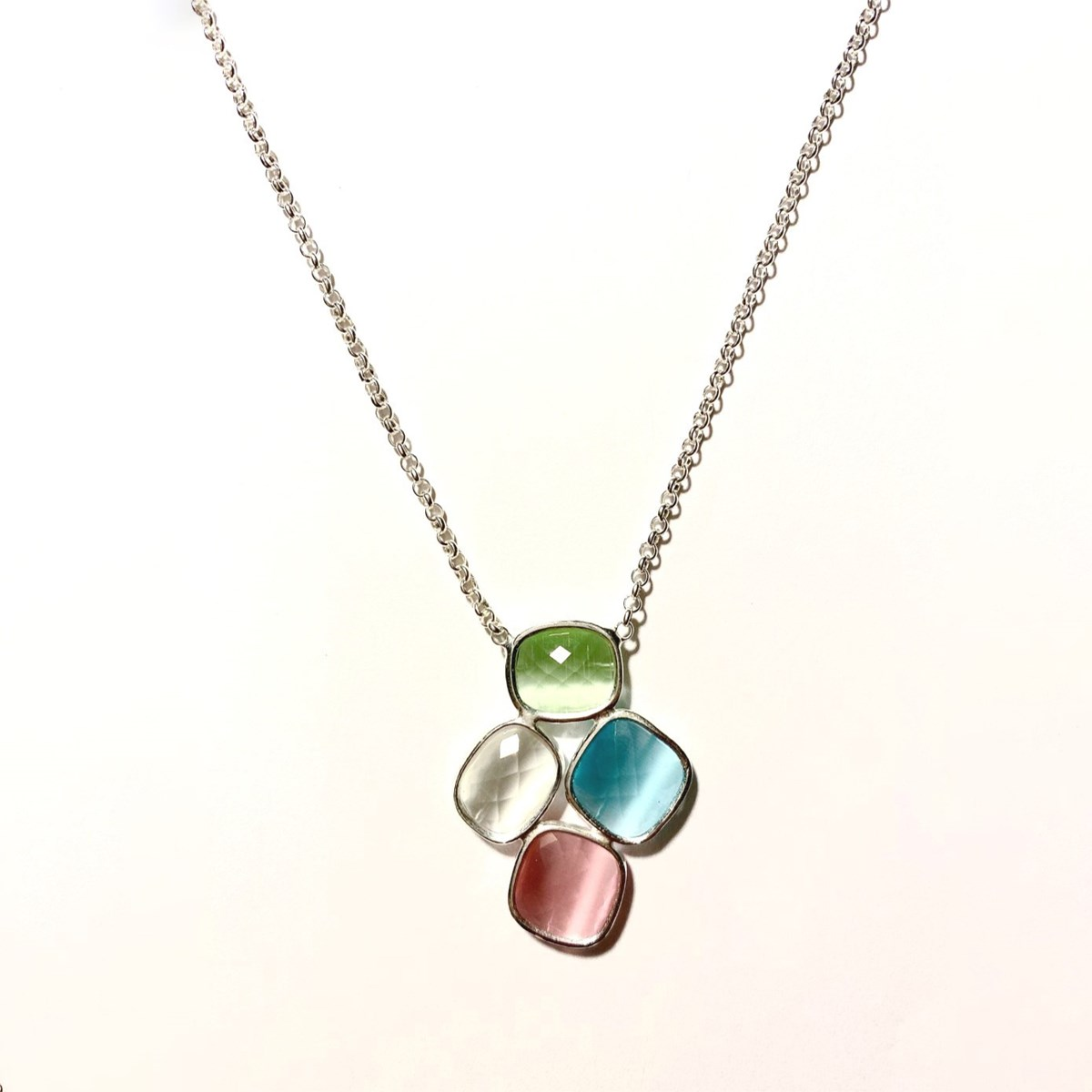 Collier Arg.925 pierre oeil de chat  multicolore pastel