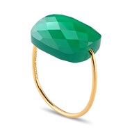 Bague Or jaune Coussin Oversize Agate Verte