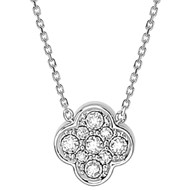 Collier Or Blanc Trèfle Diamants