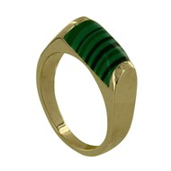 Bague Plaqué Or Rectangle Bombé Malachite
