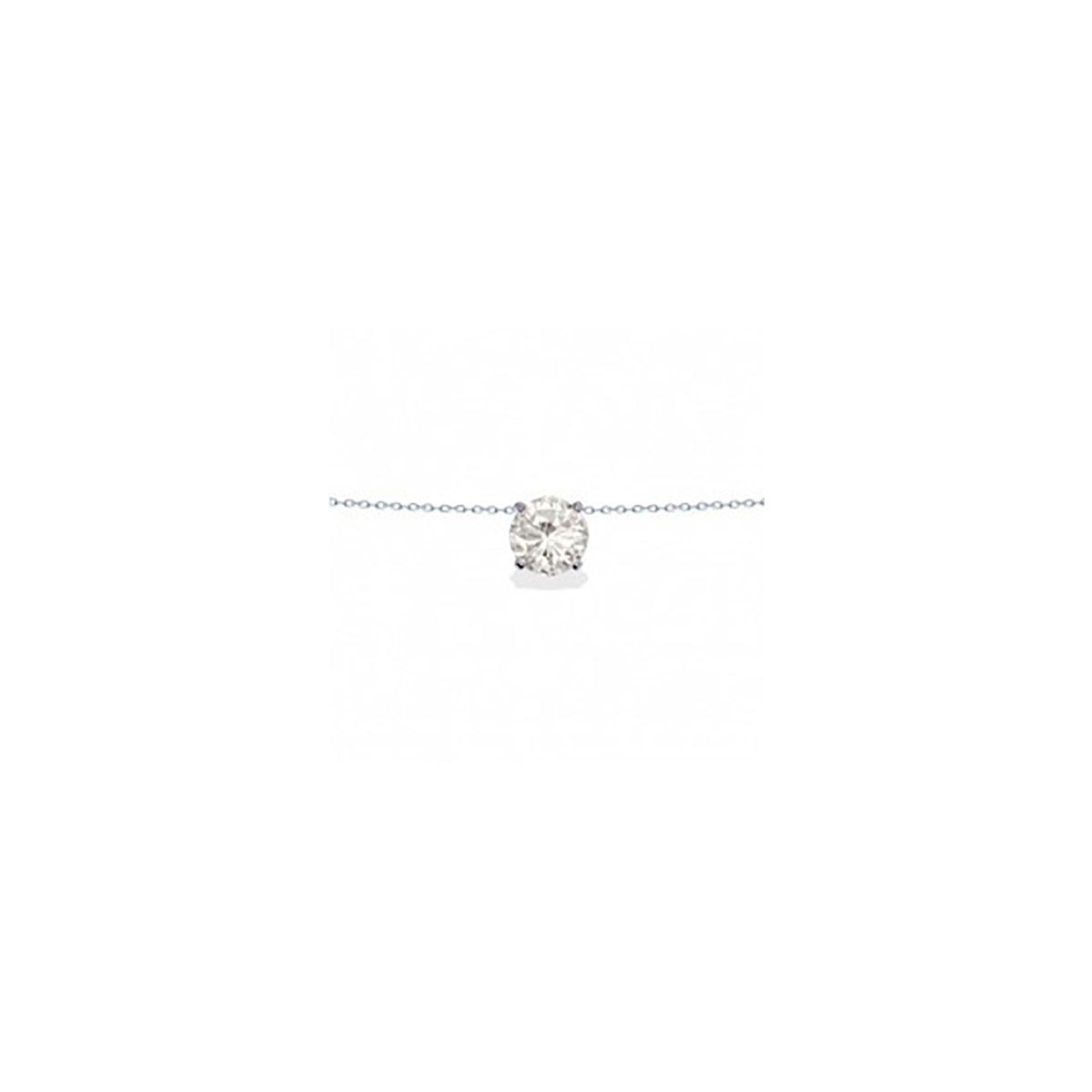 Collier Brillaxis solitaire or blanc 9 carats oxyde